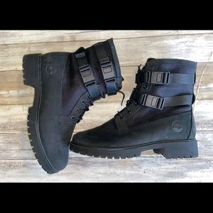 Black Timberland double buckle black boots